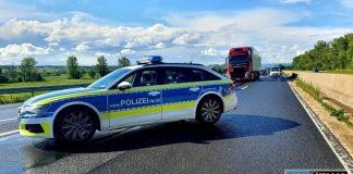 Polizei sperrt Bundesstraße B9